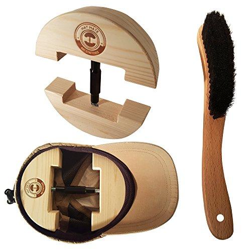 HAT MATE Hochwertiger Hutspanner aus Massivholz Inkl. Premium Hutbürste zur Reinigung - Multifunktionaler Hutweiter Mützenspanner für Hut, Kappe, Basecap, Strandhut, Strohhut