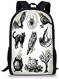 Schulrucksack,Rucksack Daypack Taschen Vintage Halloween Halloween Verwandte Bilder Gezeichnet von Hand Raben Eule Spinne Schwarz Katze Dekorativ Schwarz Weiß für B.