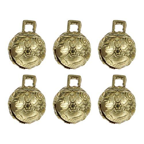 Amosfun 6Pcs Vintage Jingle Glocke Antike Kupferglocke DIY Handwerk Glocken für Hund Katze Haustier Halsband Weihnachtsbaum Hängen Ornament 12Mm