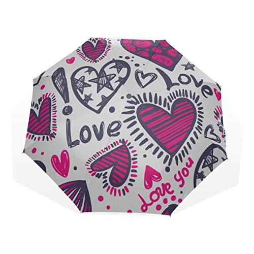Reiseregenschirm Rosa Aquarell Herz Geburtstag Anti Uv Kompakt 3-Fach Kunst Leicht Faltbare Regenschirme (Außendruck) Winddicht Regen Sonnenschutz Regenschirme Für Frauen Mädchen Kinder