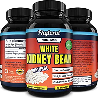 White Kidney Bean Supplement Pills Pure Extract Starch Carb Blocker Weight Loss Formula..