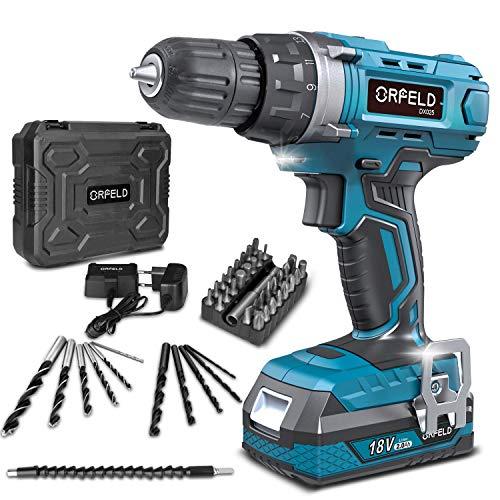 ORFELD Trapano avvitatore batteria, accessori 45 pezzi, batteria al litio da 18 V 2000 mAh, 30 Nm, 19 + 1 paia, 2 modalità di velocità, mandrino da 10 mm blu leggero
