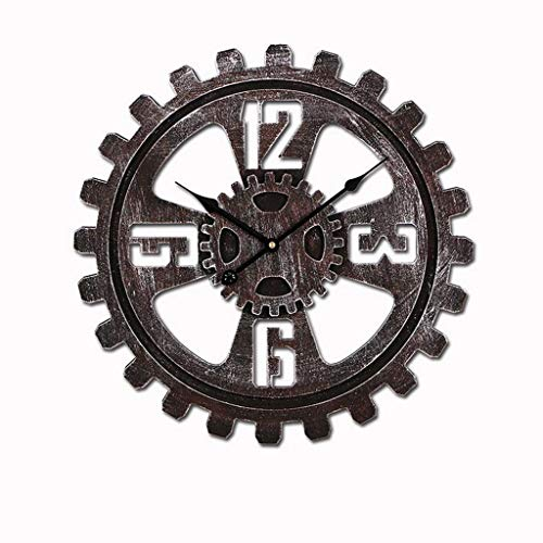 GXQDL-01 Wanduhr,Uhr, Vintage hölzerne Industrie Gang hölzerne Uhr, Moderne Shabby Chic Silent Non Ticking Clock, große Ziffern batteriebetriebene Quarz Dekor Runde Uhr (Color : 45cm Rust Number)