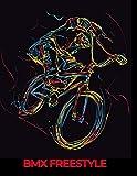 BMX FREESTYLE: cahier de note noir avec esquisse vélo BMX (French Edition)