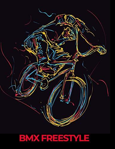 BMX FREESTYLE: cahier de note noir avec esquisse vélo BMX