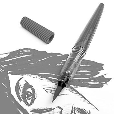 Pentel Refillable Colour Brush Pen - Nylon Tip – Grey Barrel – Grey Ink - Pigment Edition by Pentel