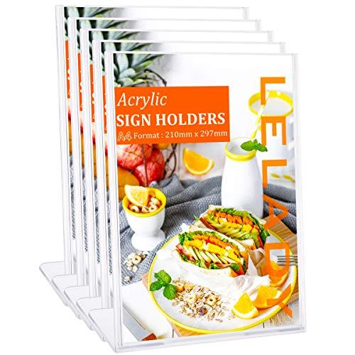 LELADY 5 Stück DIN A4 L-Ständer/Werbeaufsteller/Tischaufsteller schräg/Menükartenhalter für Speisekarten, Tischkarten, Fotorahmen & Werbung, Glasklar Acryl