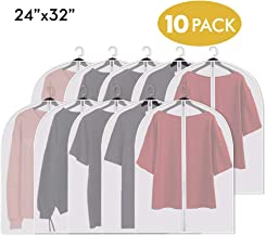 Adalite Garment Bags Suit Bag for Storage and Travel 32-inch Clear Dust-Proof Garment Covers Clothes Storage for Split Closet Space Saving Lightweight, 10 Pack