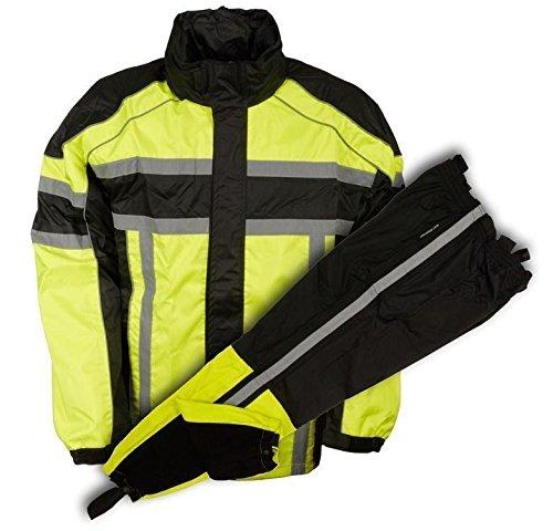 Milwaukee MEN'S RIDING MOTORCYCLE 100% NYLON RAIN SUIT GEAR BLACK/GREEN W/(XL Regular)