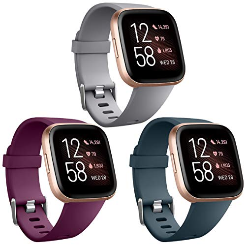 Maledan Replacement Bands Compatible with Fitbit Versa/Versa Lite/SE, Classic Accessories Band for Fitbit Versa Smart Watch, 3-Pack, Gray/Fuchsia/Slate, Small