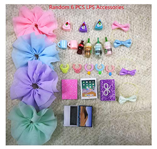 JWRAC LPS Accessories Lot (Random 6 PCS) Bow Skirt Clothes Collar Drink Cake Laptop Fit LPS Cat and Dog Collie Dachshund Great Dane Cocker Spaniel