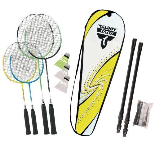 Talbot Torro Badminton-Set Family, Komplettset mit 2 Juniorschläger 53 cm, 2 Standardschläger, 3 Federbälle, höhenverstellbare Netzgarnitur, in wertiger Tasche