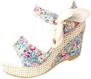 Inlefen Female Hollow Lace Oxford Sole Solid Color Increased Wedge Sandals