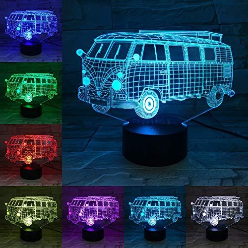 Lámpara de Color Claro de autobús Escolar para Acampar como Regalo de lámpara de decoración del hogar para Regalos de Estudiantes para niños
