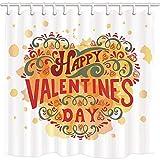 NJMRZX Valentine'Day Duschvorhang Herz Kuchen Warm And Sweet The Taste Of Love Polyester-Stoff Wasserdicht Badezimmer Duschvorhang-Set mit Haken 180 x 180 cm