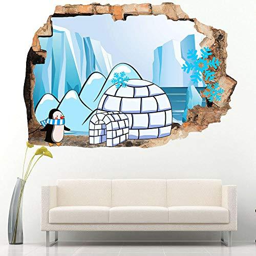 Penguin Igloo Ice and Snow Pegatinas de pared para niños Dormitorio 3D Pegatinas de vinilo para habitación infantil Niños