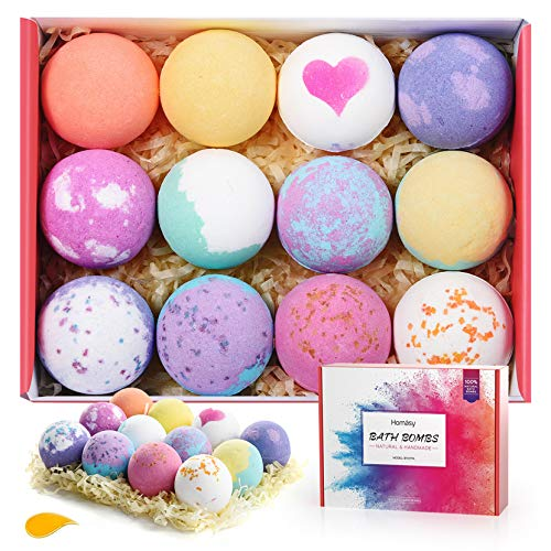 Homasy Bath Bombs, 12 Pcs Bath Bomb Gift Set with Natural Essential Oils, Shea Butter, Sea Salt, SPA...