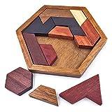 KINGOU Hexagon Tangram Classic Chinese Handmade Wooden Puzzle Jigsaw Brain Teaser for Kids & Adult Disentanglement Puzzles