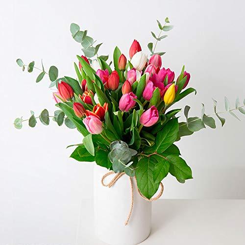 Ramo de tulipanes Burgos - Flores RECIÉN CORTADOS y NATURALES de Gran Tamaño - ENTREGA EN 24h con Dedicatoria Personalizable Gratuita - FLORES FRESCAS PARA DEDICAR