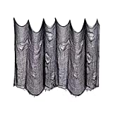 Halloween deko garten horror gaze stoff, schwarzer stoff wand decke deko, skelett dekoration wohnung garten käsetuch, Karneval Kaminsims deko, 2m*10m spuk schwarze gaze tür gothic deko stoff