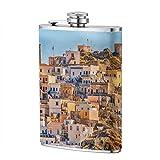 XBYC Grassland Sunset Flask para licor, frasco de cadera de bolsillo de acero inoxidable a prueba de fugas de 8 oz con tapa de cuero, botella de vino de whisky, regalo para hombres mujeres