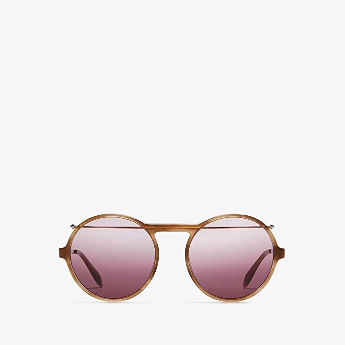Alexander McQueen  AM0192S (Shiny Endura Gold/Brown Gradient) Fashion Sunglasses