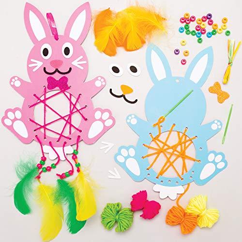 Baker Ross Osterhase Traumfänger Bastelsets für Kinder (4 Stück) Kreativsets zum Basteln und Dekorieren zur Frühlingszeit