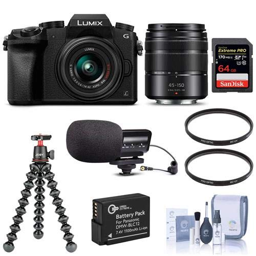 Panasonic Lumix DMC-G7 Mirrorless Camera with Lumix G Vario 14-42mm and 45-150mm Lenses Lens, Black - Bundle with 64GB SDXC Card, Joby GorillaPod 3K Kit, Stereo Condenser Mic, Spare Battery, More