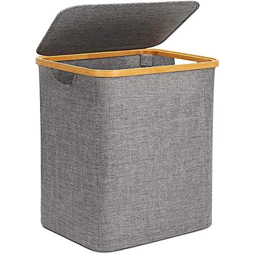 Cesto para la ropa sucia con tapa, plegable, 60 litros, cesta de almacenamiento plegable, cesta de lavandería de tela Oxford, para almacenamiento de juguetes, oficina, armario