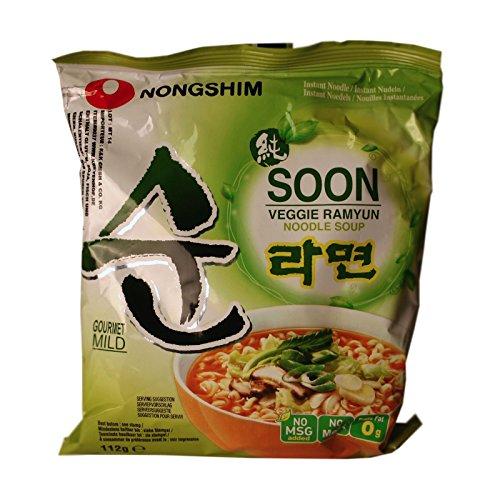 1Karton (20x112g) Nongshim Veggie Ramyun Soon vegetarische Instant Nudelsuppe