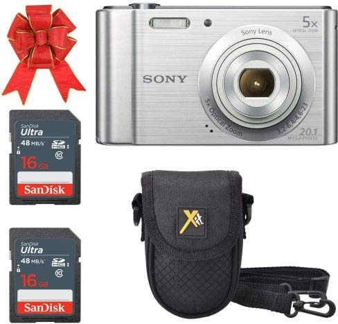 Sony Cyber-Shot DSC-W800 Digital Camera 20.1 MP (Silver) Classic Bundle with 2X 16GB SDHC Memory Card Premium Class 10 and 1 Premium Camera Case