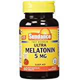 Sundance Vitamins Melatonin 5 mg Natural Berry Flavor - 60 Tablets, Pack of 2