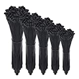 Cable Zip Ties,500 Packs Self-Locking 4+6+8+10+12-Inch Width 0.16inch Nylon Cable Ties,Per...
