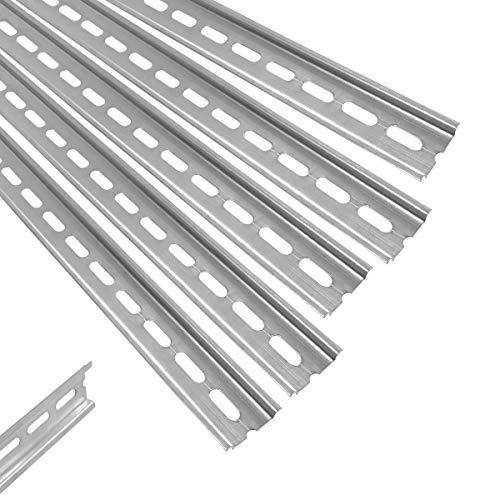 Preisvergleich Produktbild ARLI Hutschiene 5 x 1 m gelocht Stahl verzinkt 35 x 7, 5 mm für Verteilerschrank Schaltschrank einbau DIN-Hutschiene Montageschiene Tragschiene profilschine 5 Stück Schiene