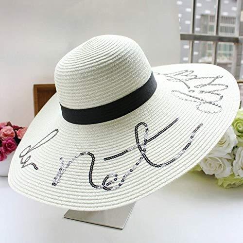Summer Do Not Disturb Lentejuelas Letra de ala ancha Sombreros de sol para mujeres Beach Vacation Fashion Girls Sombrero de paja