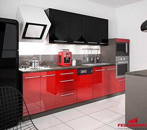 Unbekannt Küchenzeile 168893 Küchenblock 295cm Lava/rosenrot + schwarz Hochglanz