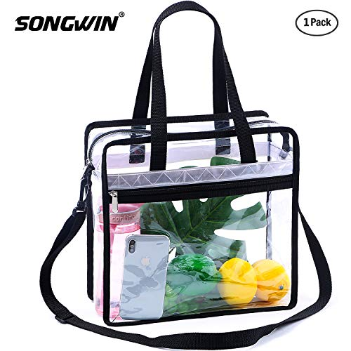 Songwin Clear Bag NFL & PGA Stadium Approved - The Clear Tote Bag with Adjustable Shoulder Strap and Zipper Closure is Perfect for for Work,School,Sports Games. (Black & Reflective Strip(one Pack))