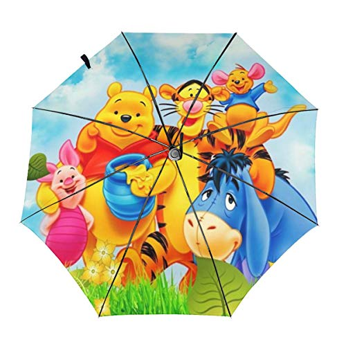 Winnie The Pooh Umbrella Automatic Open/Close Portable Tri-Fold Umbrella Waterproof Anti-UV Windproof Durable Customized Umbrellas With Ergonomic Handle Folding Umbrellas Inside Print