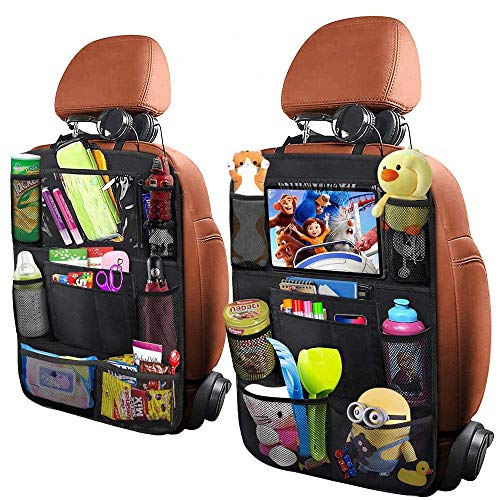 Yiomxhi 2Pack Car Backseat Organizers for Kids with Clear iPad Holder, Universal Car Seat Back Waterproof Easy to Wash Car Organizer with 10 Storages & Adjustable Straps Keep Your Vehicle Organized