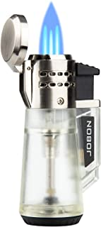 Torch Lighter Triple Jet Flame Refillable Butane Lighter Gas Fluid Lighter Jet Torch Lighters-Butane NOT Included (Silver)