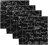 BONRI Juego de 4 servilletas de Tela Negra con Figuras geométricas de fórmula matemática, servilletas Lavables de poliéster para Mesa de Comedor, Bodas, Fiestas, Vacaciones de otoño 20'X20'