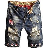 BIBOKAOKE Herren Jeans Shorts Destroyed Hip Hop Denim-Shorts Used Look Washed Vintage Jeansshorts Sommer Regular Fit Kurze Hose Verschleißfest Ripped Distressed Denim Short Freizeithose