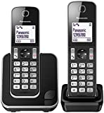Panasonic KX-TGD312 - Teléfono Fijo inalámbrico Dúo (LCD, identificador de llamadas, agenda de 120 números, bloqueo de llamada, modo ECO, reducción de ruido), Negro