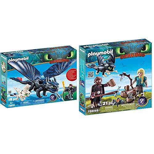 PLAYMOBIL DreamWorks Dragons HIPO y Desdentao con Bebé Dragón, a Partir de 4 Años (70037) + HIPO y Astrid con Bebé Dragón