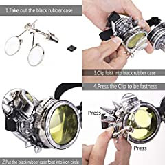 DODOING Victorian Style Spiked Steampunk Goggles Double Ocular Loupe Welding Punk Gothic Glasses #4