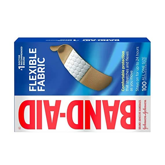Johnson & Johnson Band-Aid Brand Flexible Fabric Adhesive Bandages for Wound Care and First Aid, All One Size, 100 Count… 9 100-count Band-Aid Brand Flexible Fabric Adhesive Bandages for first aid and wound protection of minor wounds, cuts, scrapes and burns Made with Memory-Weave fabric for comfort and flexibility, these bandages stretch, bend, and flex with your skin as you move, and include a Quilt-Aid comfort pad designed to cushion painful wounds which may help prevent reinjury These Band-Aid Brand Flexible Fabric adhesive bandages stay on for up to 24 hours and feature a unique Hurt-Free Pad that won't stick to the wound as they wick away blood and fluids, allowing for gentle removal