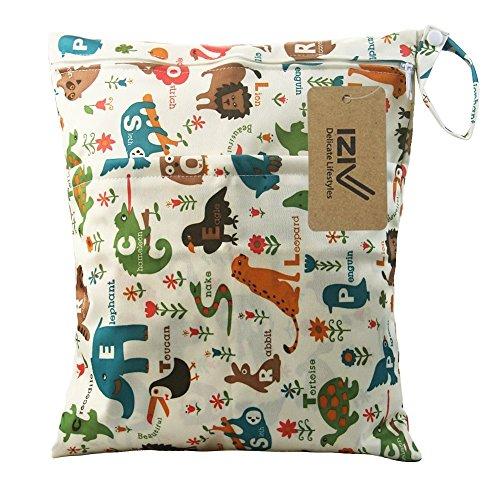 iZiv Wasserdichtes Baby Wiederverwendbare Nass und Trocken Windel Beutel Organisator Beutel 2 Reißverschluss Printing Wickeltasche (Tiere)