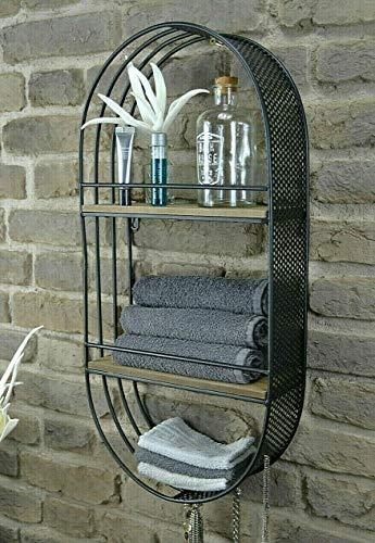 Livitat Wandregal Hängeregal Schweberegal Oval Schwarz 66 x 32 cm Industrie LV5067