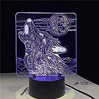 ウルフのような満月の夜3DLEDアクリルRGBナイトライトUSBタッチコントロールホームチャイルドテーブルランプチャイルドギフト