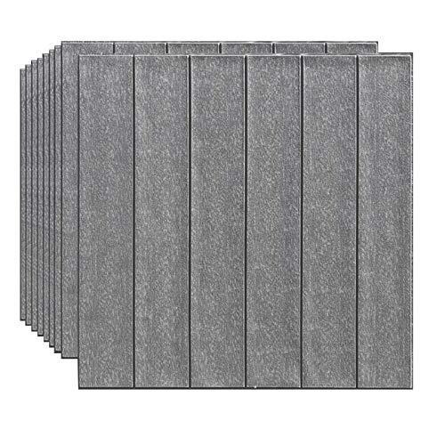 JHDUID 3D Brick Wallpaper Selbstklebende Tapete Leicht entfernbare und wasserdichte Stick Wallpaper für Küchenarbeitsplatte Schrank Möbel Schlafzimmer Dekor 10 PCS,Grau